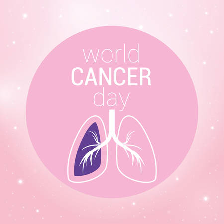 lungs design, World cancer day february four awareness campaign disease prevention and foundation theme Vector illustration