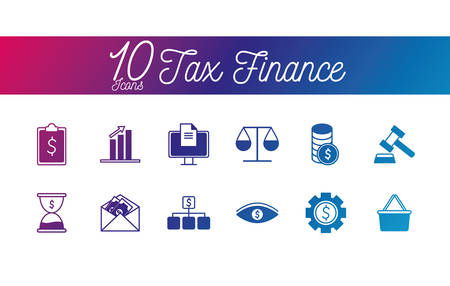 10 gradient line style icon set of tax finance money financial item banking commerce market payment buy currency accounting and invest theme Vector illustration