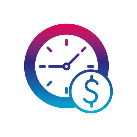 clock and dollar button gradient line style icon of money financial item banking commerce market payment buy currency accounting and invest theme Vector illustration Ilustracja