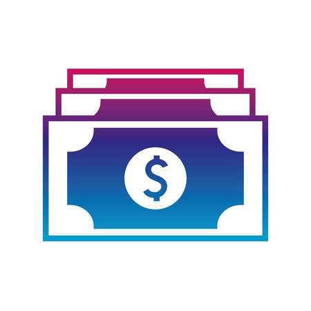 bills gradient line style icon of money financial item banking commerce market payment buy currency accounting and invest theme Vector illustration