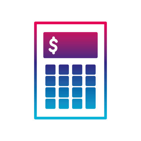 Calculator gradient line style icon design, Mathematics finance device electronic education office object and accounting theme Vector illustration