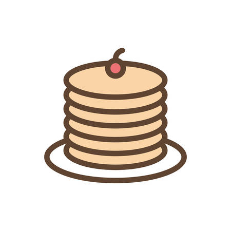 pancakes line and fill style icon design, Eat food restaurant menu dinner lunch cooking and meal theme Vector illustration