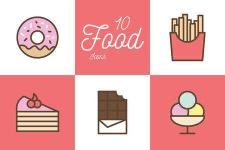10 line and fill style icon set design, Eat food restaurant menu dinner lunch cooking and meal theme Vector illustration