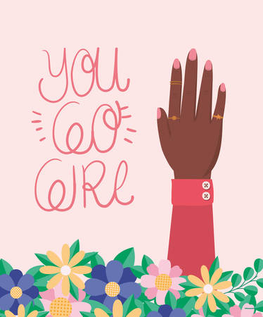 Hand with flowers and leaves design of Women empowerment female power feminist people gender feminism young rights protest and strong theme Vector illustration Vettoriali