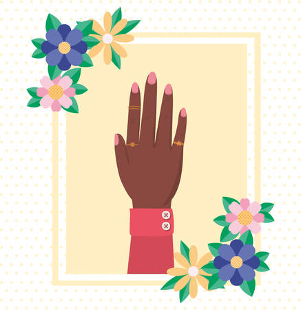 Hand with flowers and leaves design of Women empowerment female power feminist people gender feminism young rights protest and strong theme Vector illustration