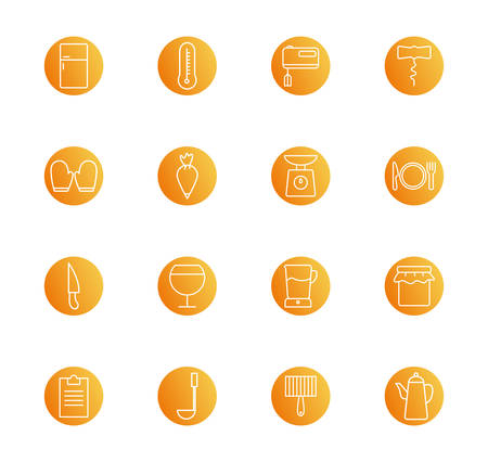 block style icon set design, Cook kitchen Eat food restaurant home menu dinner lunch cooking and meal theme Vector illustration