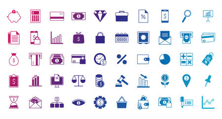 gradient line style icon set of tax finance money financial item banking commerce market payment buy currency accounting and invest theme Vector illustration