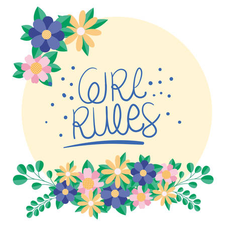 girl rules flowers and leaves design of Women empowerment female power feminist people gender feminism young rights protest and strong theme Vector illustration