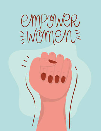 Hand fist design of Women empowerment female power feminist people gender feminism young rights protest and strong theme Vector illustration Vettoriali