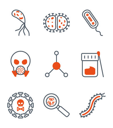 Black and orange virus icon set design, Bacterium organism molecule microbe cell disease illness health medical and infection theme Vector illustration Ilustracja
