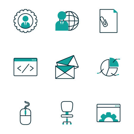 Icon set design, Office business objects workforce corporate job work occupation and communication theme Vector illustration