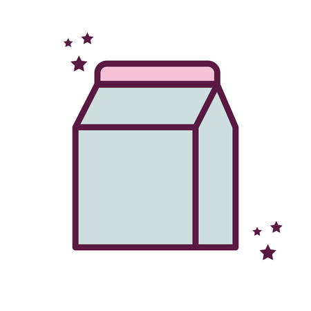 milk box line and fill style icon design, dairy breakfast food fresh natural healthy product calcium and nature theme Vector illustration
