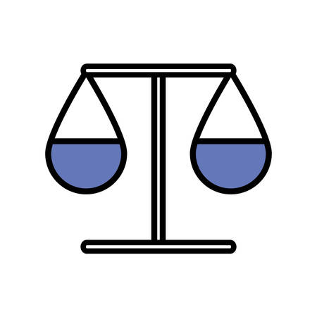 Law scale line and fill style icon design, Justice legal judgment judical authority freedom veridict attorney and crime theme Vector illustration