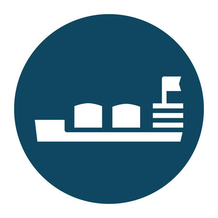 storage ship block and flat style icon design, Oil industry Gas energy fuel technology power industrial production and petroleum theme Vector illustration  イラスト・ベクター素材