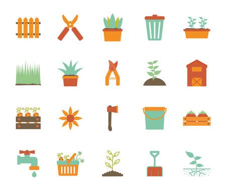 flat style icon set design, Gardening garden planting nature ecology outdoors and botany theme Vector illustration Ilustração