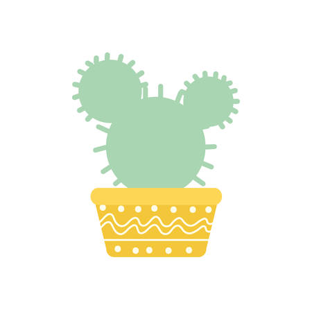 Cactus inside pot block gradient style icon design, Plant desert nature tropical summer mexico and western theme Vector illustration