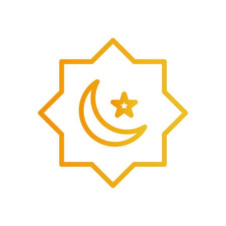 Ramadan moon and star gradient style icon design, Islamic muslim religion culture belief religious faith god spiritual meditation and traditional theme Vector illustration