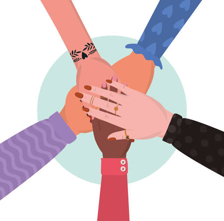 united female hands design of Collaborative team cooperation together partnership unity idea strategy solution togetherness and occupation theme Vector illustration