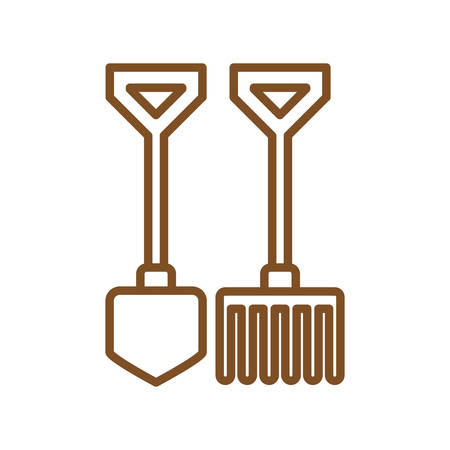 rake and shovel line style icon design, Gardening garden planting nature ecology outdoors and floral theme Vector illustration