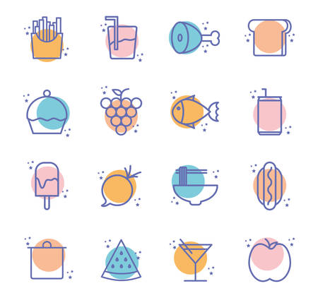 block line style icon set design, Eat food restaurant menu dinner lunch cooking and meal theme Vector illustration Vecteurs