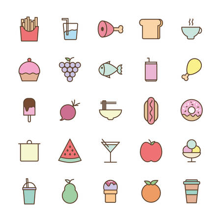 line and fill style icon set design, Eat food restaurant menu dinner lunch cooking and meal theme Vector illustration