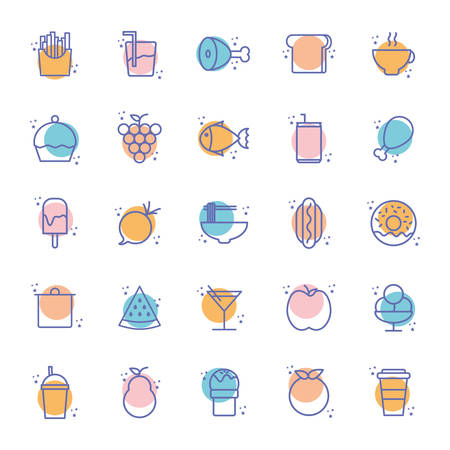 block line style icon set design, Eat food restaurant menu dinner lunch cooking and meal theme Vector illustration