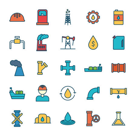 Oil industry line and fill style icon set design, Gas energy fuel technology power industrial production and petroleum theme Vector illustration