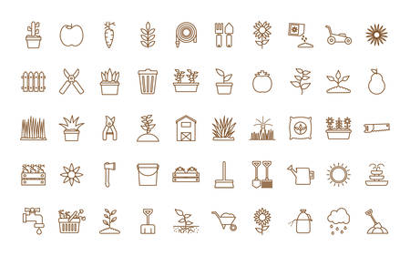 line style icon set design, Gardening garden planting nature ecology outdoors and botany theme Vector illustration Illustration