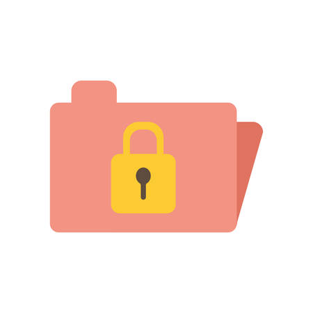 Padlock inside file flat style icon design of Security system warning protection danger web alert and safe theme Vector illustration