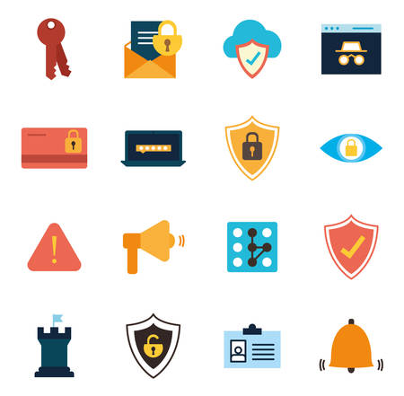 flat style icon set design of Security system warning protection danger web alert and safe theme Vector illustration