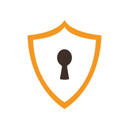 Padlock shield flat style icon design of Security system warning protection danger web alert and safe theme Vector illustration