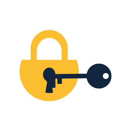 Padlock with key flat style icon design of Security system warning protection danger web alert and safe theme Vector illustration