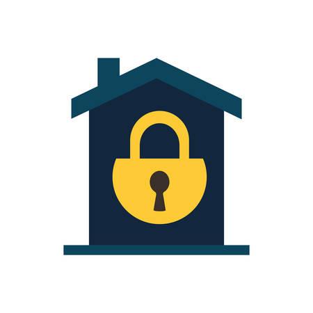 Padlock inside house flat style icon design of Security system warning protection danger web alert and safe theme Vector illustration Çizim
