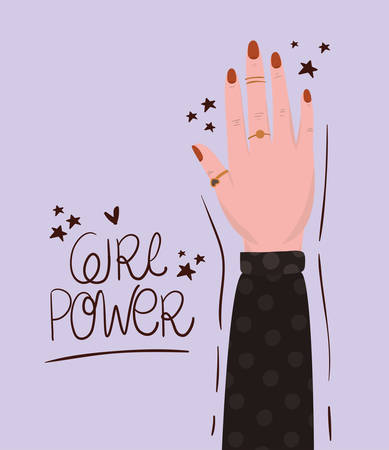 Hand and girl power design of Women empowerment female feminist people gender feminism young rights protest and strong theme Vector illustration