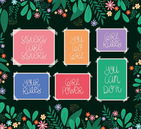banners set with leaves and flowers design of Women empowerment female power feminist people gender feminism young rights protest and strong theme Vector illustration