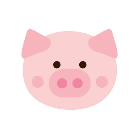 Cute pig cartoon flat style icon design, Animal zoo life nature character childhood and adorable theme Vector illustration