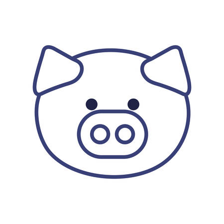 Cute pig cartoon line style icon design, Animal zoo life nature character childhood and adorable theme Vector illustration Illustration