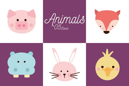 5 Cute cartoons flat style icon set design, Animal zoo life nature character childhood and adorable theme Vector illustration Illustration