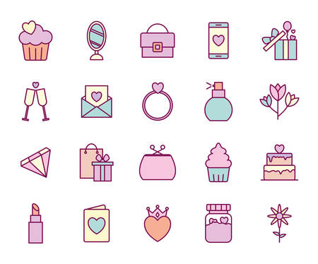 line and fill style icon set design, happy mothers day love relationship decoration celebration greeting and invitation theme Vector illustration