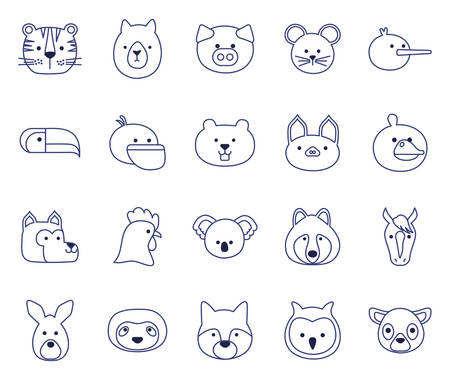 Cute cartoons line style icon set design, Animal zoo life nature character childhood and adorable theme Vector illustration Illustration