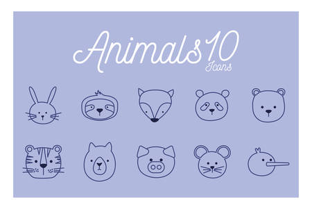 10 Cute cartoons line style icon set design, Animal zoo life nature character childhood and adorable theme Vector illustration Illustration