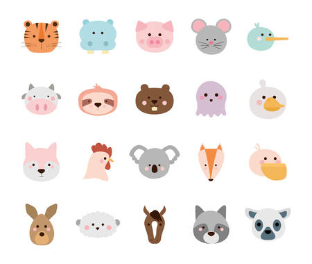 Cute cartoons flat style icon set design, Animal zoo life nature character childhood and adorable theme Vector illustration