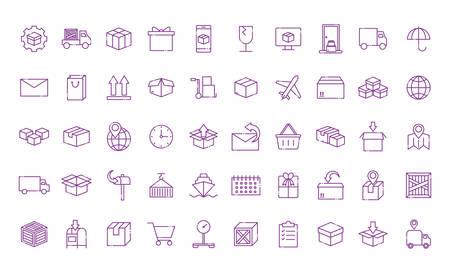 line style icon set design, Delivery logistics transportation shipping service warehouse industry and global theme Vector illustration Archivio Fotografico - 141758070