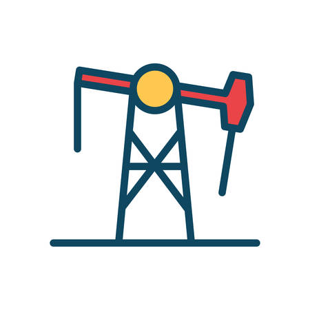 pump line and fill style icon design, Oil industry Gas energy fuel technology power industrial production and petroleum theme Vector illustration Ilustração
