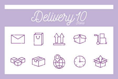 10 line style icon set design, Delivery logistics transportation shipping service warehouse industry and global theme Vector illustration