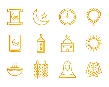 Ramadan gradient style icon set design, Islamic muslim religion culture belief religious faith god spiritual meditation and traditional theme Vector illustration
