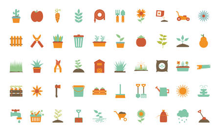 flat style icon set design, Gardening garden planting nature ecology outdoors and botany theme Vector illustration Illustration