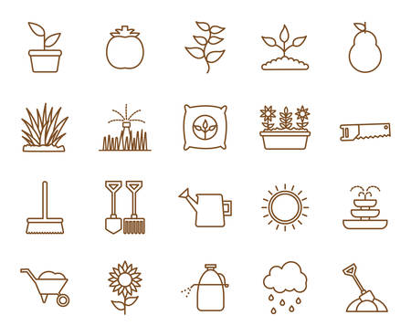 line style icon set design, Gardening garden planting nature ecology outdoors and botany theme Vector illustration Vectores