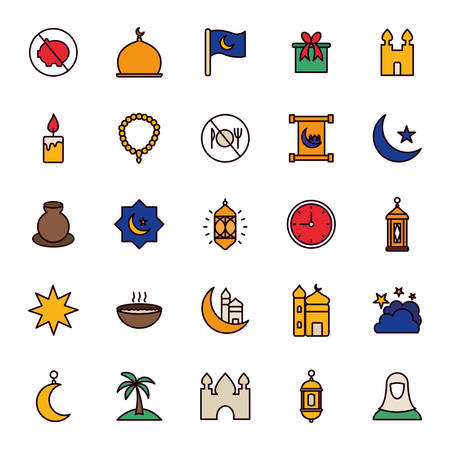 Ramadan line and fill style icon set design, Islamic muslim religion culture belief religious faith god spiritual meditation and traditional theme Vector illustration