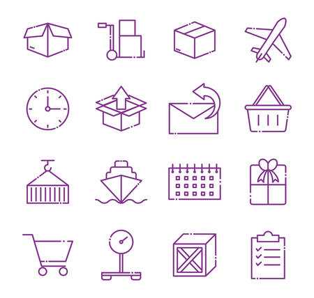 line style icon set design, Delivery logistics transportation shipping service warehouse industry and global theme Vector illustration Archivio Fotografico - 141735423